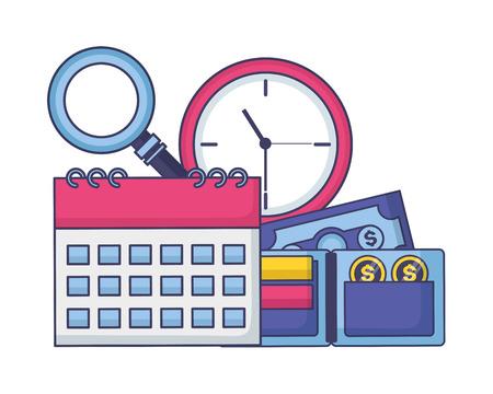 calendar clock wallet money tax payment vector illustration Ilustração