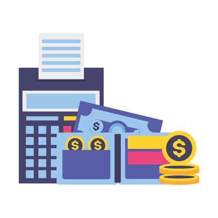 calculator wallet money currency tax payment vector illustration  イラスト・ベクター素材