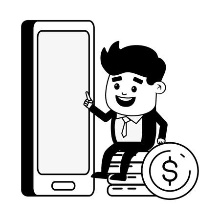 businessman mobile coins stacked online banking vector illustration Illustration