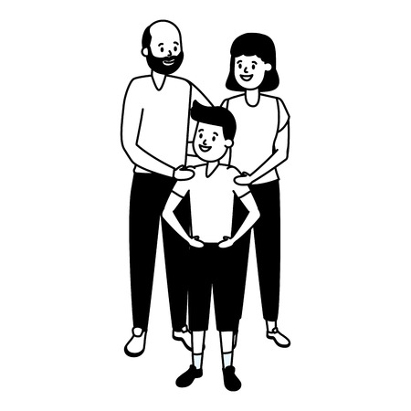grandparents and grandson family vector illustration design