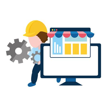 worker online shopping computer vector illustration design