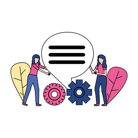 business women gears talk bubble vector illustration
