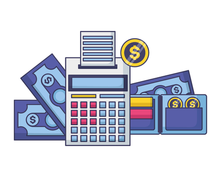 calculator wallet banknotes coins money tax payment  vector illustration