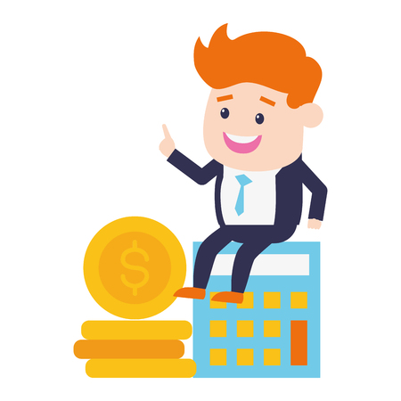 businessman calculator money online banking vector illustration