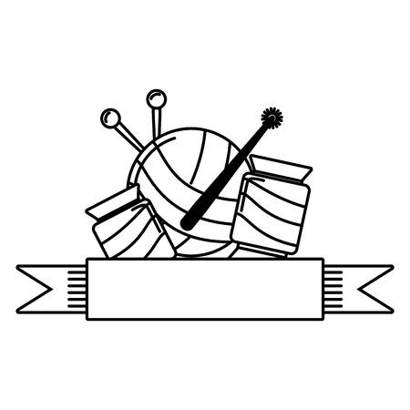 needlepoint wool balls ribbon emblem vector illustration