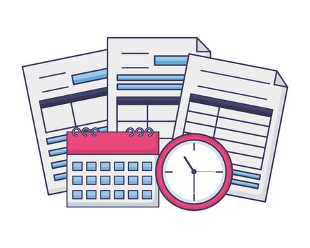 Les documents de paiement d'impôts calculatrice calendrier horloge vector illustration