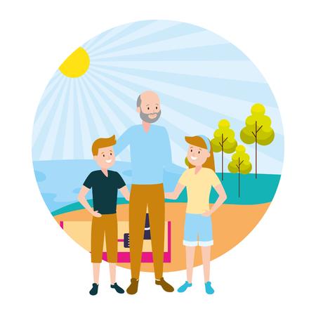 grandfather and kids family outdoors vector illustration Ilustração