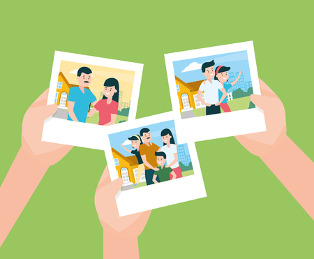 hands with photos familiy day vector illustration design Banque d'images - 122996265