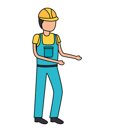 construction worker in overall uniform vector illustration 版權商用圖片 - 122996274