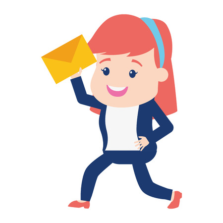 woman with mail envelope on white background 向量圖像