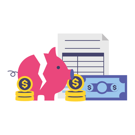 piggy money form tax time payment vector illustration Illustration