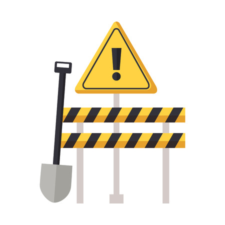 construction equipment shovel barrier warning sign vector illustration Çizim