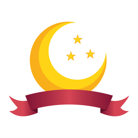 half moon and stars on white background vector illustration design Banque d'images - 121465975