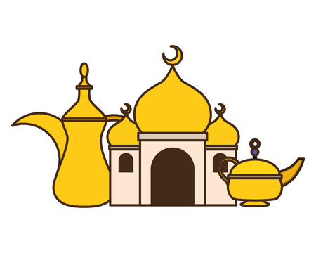 taj mahal tea pot indian culture vector illustration design Stock Vector - 121506750