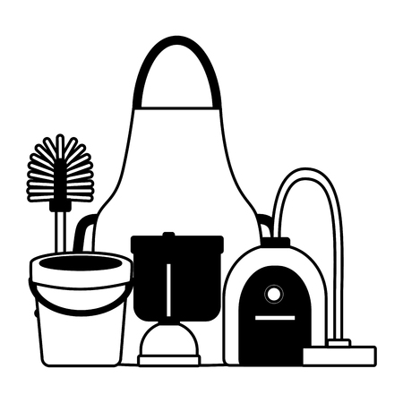 vacuum bucket plunger brush apron spring cleaning tools vector illustration
