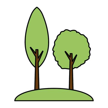 trees forest nature on white background vector illustration design