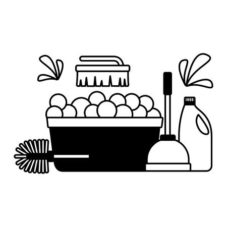 washing bucket plunger brush detergent spring cleaning tools vector illustration Illustration