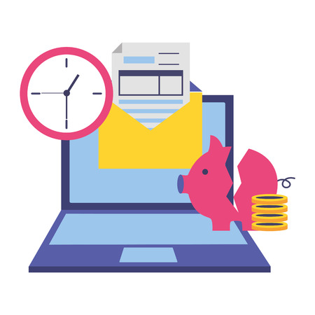 laptop broken piggy bank money clock form tax payment vector illustration