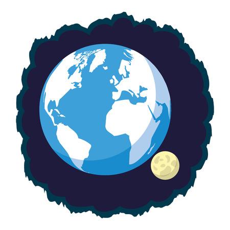 astronomy planet earth and moon vector illustration design Ilustração
