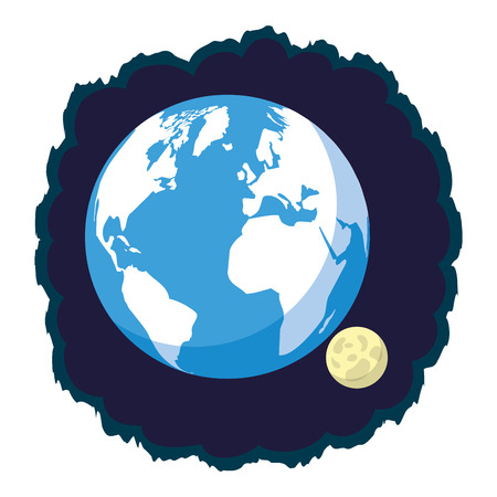 astronomy planet earth and moon vector illustration design Illustration