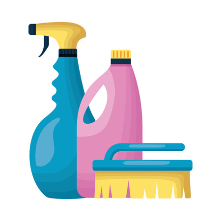 spray brush and detergent spring cleaning tools vector illustration