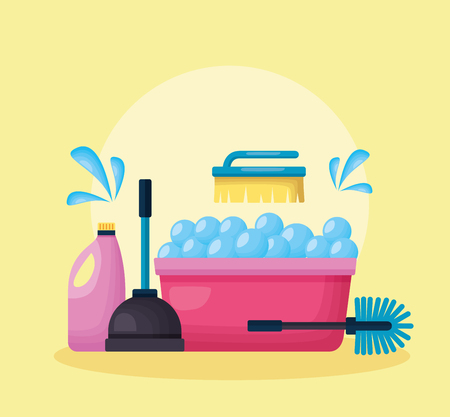 washing bucket plunger brush detergent spring cleaning tools vector illustration 向量圖像