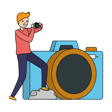 man taking photo with camera device vector illustration