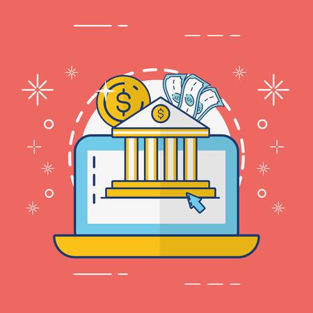 laptop bank money online payment vector illustration Illustration