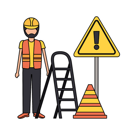 workers construction bricks stairs sign vector illustration Ilustracja