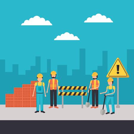 workers construction shovel bricks barricade equipment vector illustration