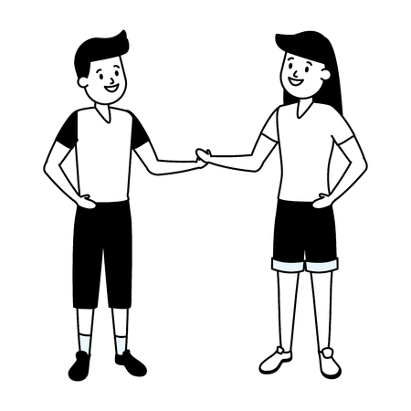 illustration vectorielle de famille heureuse fille et garçon