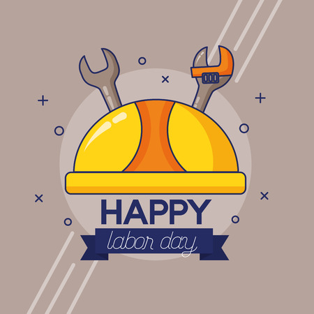 hardhat and tools labour day vector illustration Çizim
