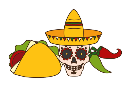 skull with hat taco and jalapeno cinco de mayo vector illustration Illustration