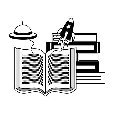 world book day fantasy fiction travel vector illustration Archivio Fotografico - 122996409