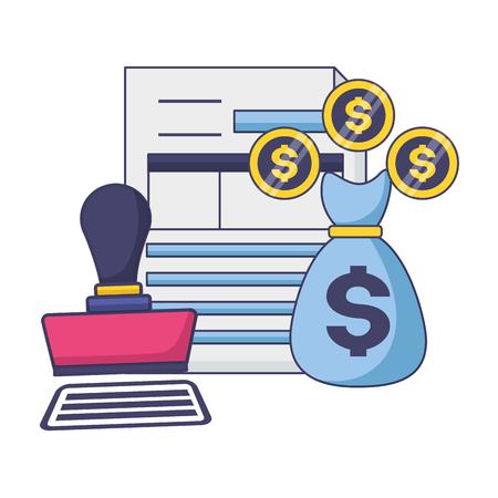 tax payment document money bag invoice paid stamp vector illustration Çizim