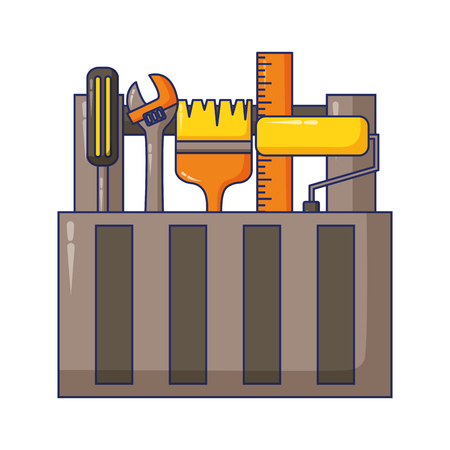 toolbox brush roller wrench construction tool vector illustration