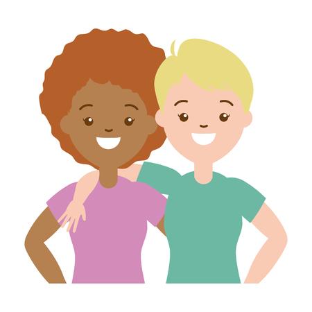happy couple women lgbt pride vector illustration Stock Vector - 121506812