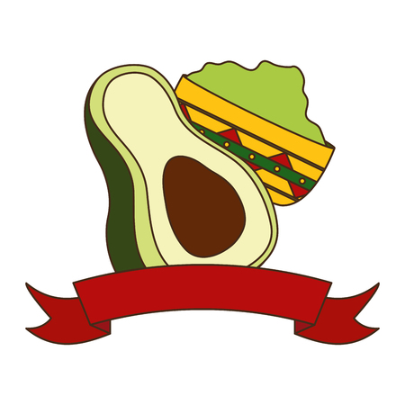 avocado and guacamole sauce in bowl vector illustration Illustration
