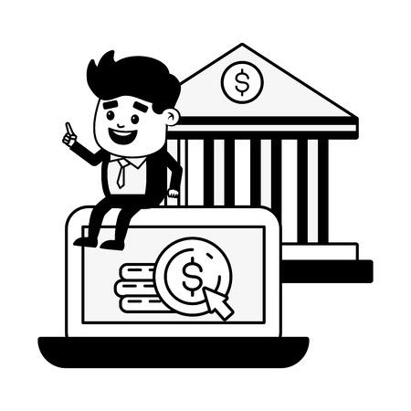 businessman computer money bank online banking vector illustration