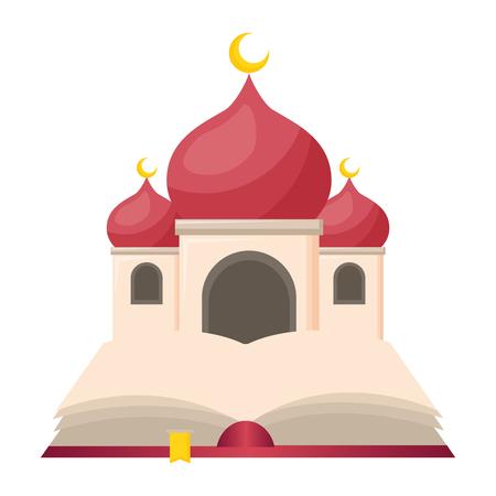 taj mahal and holy quran vector illustration design