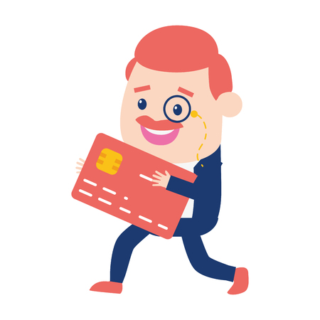businessman bank card online banking vector illustration