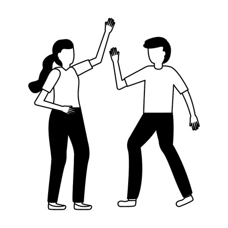 man and woman gesture on white background vector illustration