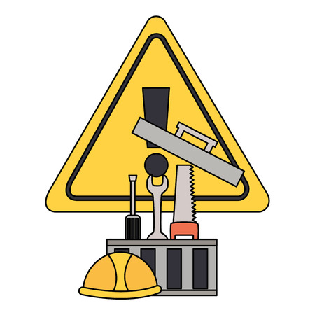 toolbox saw screwdrvier spanner helmet tool construction equipment vector illustration Stock Illustratie