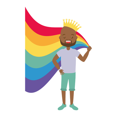 afro american man with crown rainbow lgbt pride vector illustration Illustration