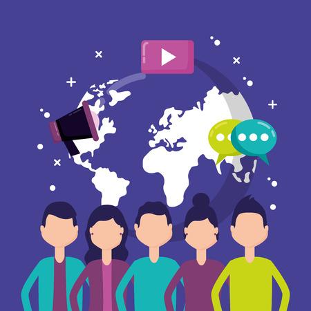 people mobile chatting world social media vector illustration