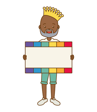 afro american man with crown and placard  lgbt pride vector illustration