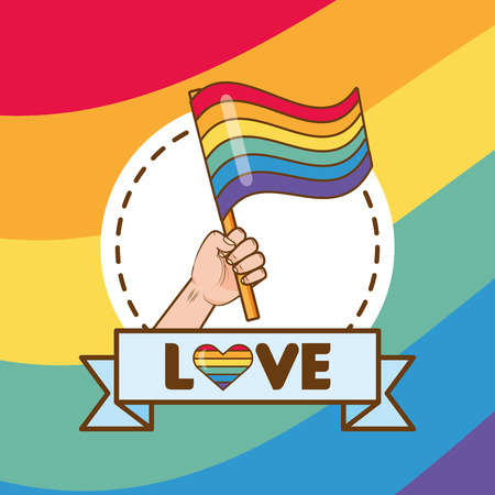 hand with flag rainbow lgbt pride love vector illustration Illustration