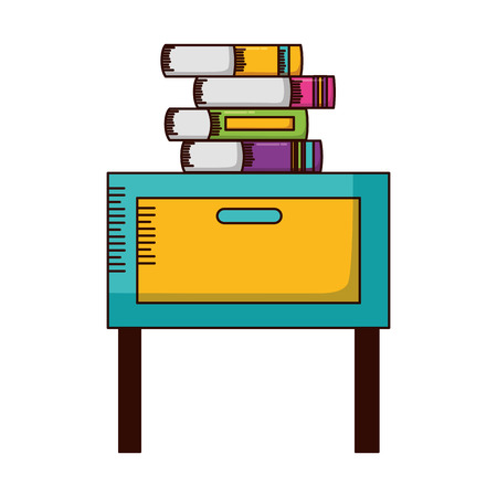 desk with books teachers day card vector illustration