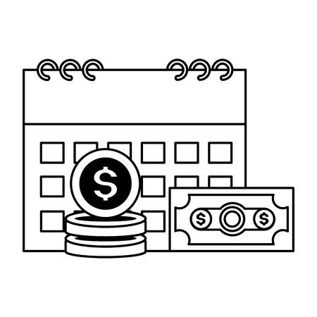 calendario soldi banconote monete pagamento tasse illustrazione vettoriale Vettoriali