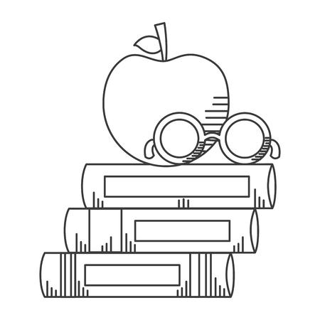 books stack apple eyeglasses school supplies vector illustration design Illustration